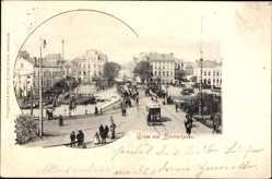 Postcard Bremerhaven Niedersachsen, Straßenpartie mit Tram, Brücke