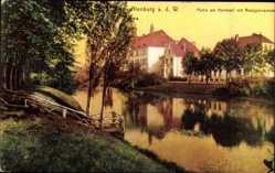 Postcard Nienburg an der Weser, Partie am Nordwall, Gymnasium, Flusspartie, Steg