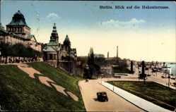 Ak Szczecin Stettin Pommern, Hakenterasse mit Straßenpartie