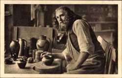 Ak Christusdarsteller Anton Lang in seiner Töpferwerkstatt, Oberammergau