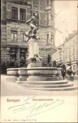 Postcard Stuttgart in Baden Württemberg, Partie am Gänsepeterbrunnen