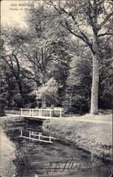 Postcard Bad Bentheim in Niedersachsen, Partie im Kurpark, Brücke, Gewässer