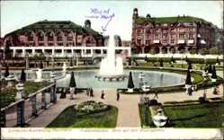 Postcard Mannheim, Gartenbauaustellung 1907, Besucher, Springbrunnen