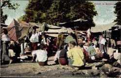 Postcard Burma Myanmar, Bazar, Marktplatz, Händler