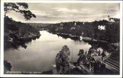 Postcard Saltsjöbaden Schweden, Utsikt fran Skidbacken, Fluss