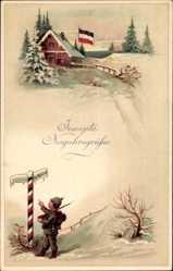 Ak Glückwunsch Neujahr, Winteridyll, Wegweister, Patriotik, EAS 1104 K