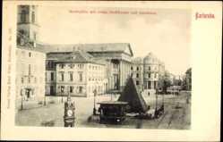 Postcard Karlsruhe in Baden Württemberg, Marktplatz mit evang. Stadtkirche, Amtshaus
