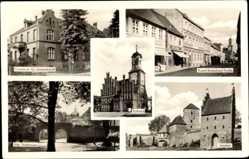 Postcard Wittstock Dosse in der Ostprignitz, Rathaus, alte Stadtmauer, Amtshof