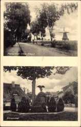 Postcard Hanstedt in der Nordheide, Blick zum Ehrenmal, Windmühle