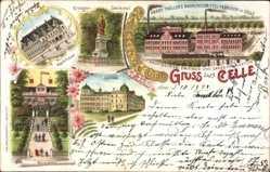 Litho Celle, Kriegerdenkmal, Rathaus, Harry Trüllers Nahrungsmittelfabrik