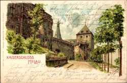 Künstler Litho Spindler, E.,Mylau im Vogtland, Einfahrt zum Kaiser Schloss, 1906