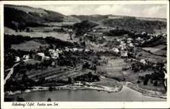 Postcard Ruhrberg Simmerath, Partie am See, Fliegeraufnahme