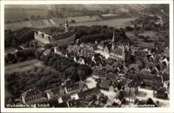 Postcard Weikersheim Main Tauber Kreis, Stadtansicht mit Schloss, Fliegeraufnahme