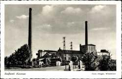 Postcard Wiesmoor Kreis Aurich, Schornsteine des Kraftwerkes, Eingangsbereich