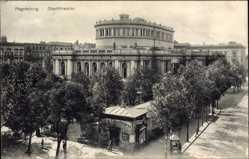 Postcard Magdeburg in Sachsen Anhalt, Blick zum Stadttheater, Cafe Konditorei