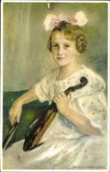 Künstler Ak von Kremnitzky, Margit, Die kleine Künstlerin, Violine,Meissner Buch