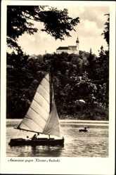 Postcard Andechs in Oberbayern, Blick vom Ammersee auf das Kloster