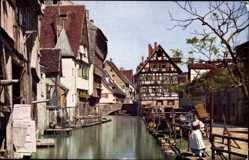 Postcard Ulm an der Donau Baden Württemberg, Blau, Frau am Ufer, Novitas 1283