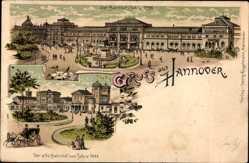 Litho Hannover in Niedersachsen, Der alte Bahnhof im Jahre 1844