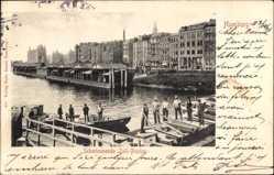 Ak Hamburg, Schwimmende Zoll Ponton, Uferpartie, Häuser