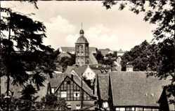 Postcard Tecklenburg in Nordrhein Westfalen, Blick über die Dächer auf die Kirche