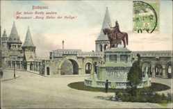 Postcard Budapest Ungarn, Sat. Istvan Kiraly szobra, Reiterdenkmal, König Stefan