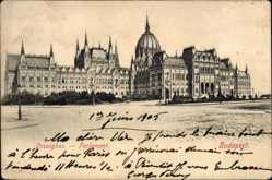 Postcard Budapest Ungarn, Orszaghaz, Ansicht vom Parlament, Straßenpartie