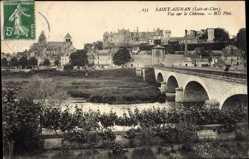 Ak Saint Aignan Loire et Cher, Vue sur le Château, Pont