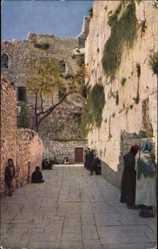 Postcard Jerusalem Israel, Menschen an der Klagemauer, Juden beim Gebet