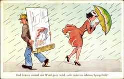 Künstler Ak Und braust einmal der Wind ganz wild, sieht man ein Spiegelbild