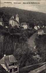 Postcard Triberg im Schwarzwald, Blick auf den Ort mit Wallfahrtskirche