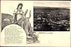 Ak Hameln in Niedersachsen, Weserlied mit Panoramablick