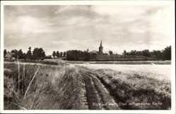 Postcard Hoch Elten Emmerich am Rhein, Zerstörte Kirche vom Feld gesehen