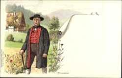 Künstler Litho Peterstal Oy Mittelberg, Mann in schwarzwälder Tracht