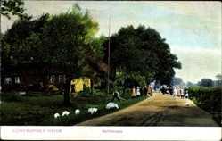 Postcard Lüneburger Heide, Dorfstraße, Gänse, Anwohner