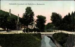 Postcard Grießbach Drebach, Kalköfen und Restaurant, Brücke