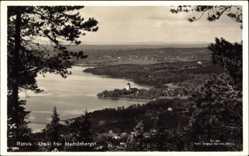 Postcard Rättvik Schweden, Utsikt fran Hedsasberget, Totalansicht, Kirche am Wasser