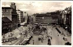 Postcard Zagreb Kroatien, Jelacicev trg, Platz, Straßenverkehr