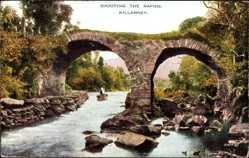 Postcard Killarney Irland, Shooting the Rapids, Alte Steinbrücke am Fluss