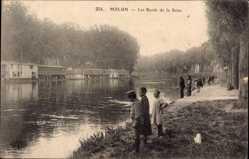 Ak Melun Seine et Marne, Les bords de la Seine, Flussufer, Angler