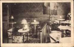 Postcard Mittweida in Sachsen, kleiner Speisesaal, Lampen, Tische