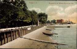Postcard Brake an der Unterweser, Weserpartie mit Wilkens Garten und Pier
