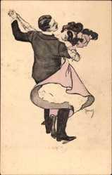 Künstler Ak Reznicek, Tanzendes Paar, Paartanz, Maske,Simplizissimus I 3