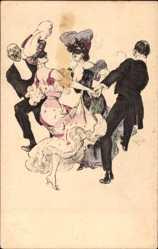 Künstler Ak Reznicek, Tanzende Paare, Frauen in Masken, Simplizissimus I 6