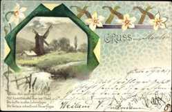 Litho Gruß aus Xanten, Windmühle auf dem Feld, Flusspartie, Kitsch