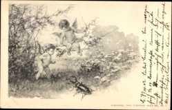 Postcard Zwei Engel beobachten einen Hirschkäfer, Insekt