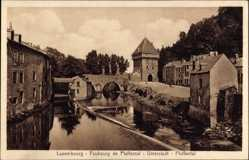 Postcard Luxemburg, Faubourg de Pfaffental, Unterstadt, Flusspartie, Brücke