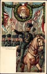 Litho Nürnberg in Mittelfranken Bayern, Deutsches Turnfest 1903, Reiter, Jahn