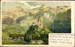 Künstler Litho Aschau im Chiemgau Oberbayern, Hohenaschau, Berg, Burg, Gebirge