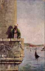 Künstler Ak Konstantinopel Istanbul Türkei, Hodja upon the Minaret